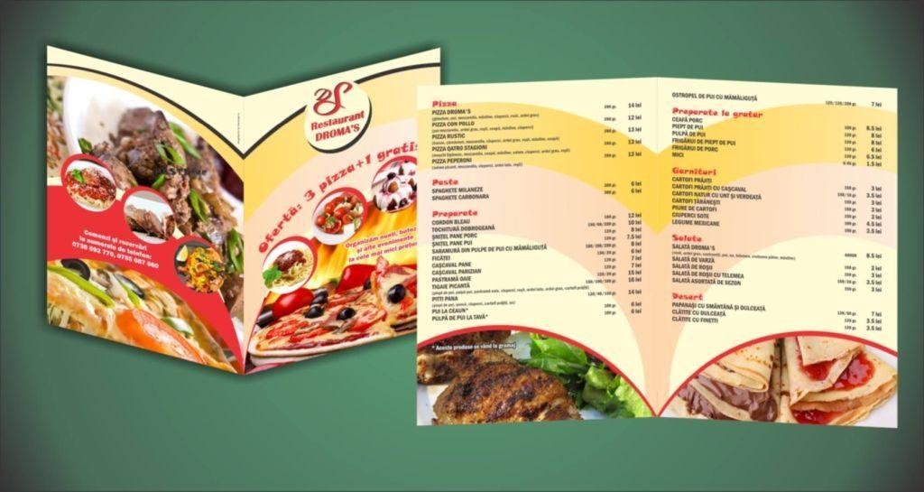 pliante pentru restaurante grafica aleasa hartie calitativa pret bun